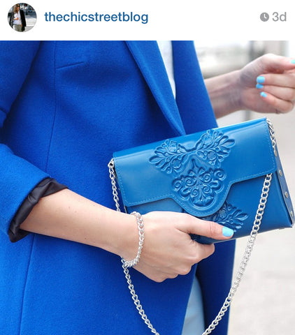 Thechicstreet blog & blue mini clutch