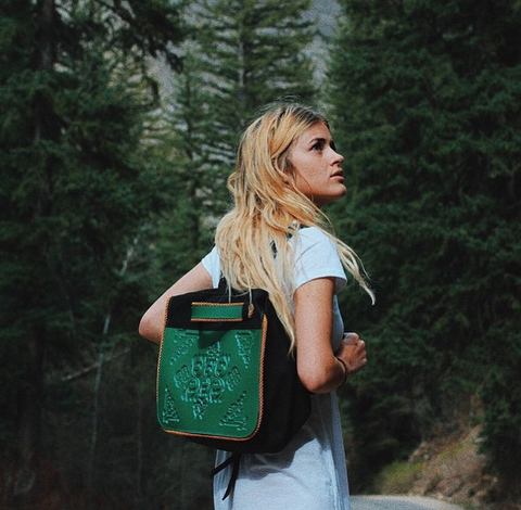 @zoelaz and her green Poly backpack