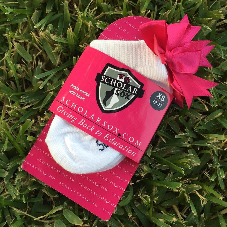 (LIMITED EDITION) White ankle socks with pink bows (2 pairs)