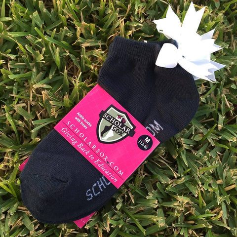 Navy ankle socks with white bows (2 pairs)
