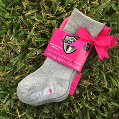 (LIMITED EDITION) Grey knee-high socks with pink bows (2 pairs)
