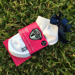 White ankle socks with navy bows (2 pairs)