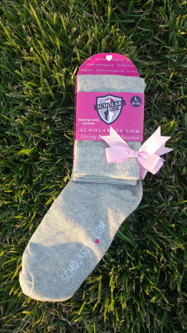 (LIMITED EDITION) Grey knee-high socks with light pink bows (2 pairs)