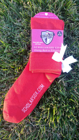 (LIMITED EDITION) Red knee-high socks with white bows (2 pairs)