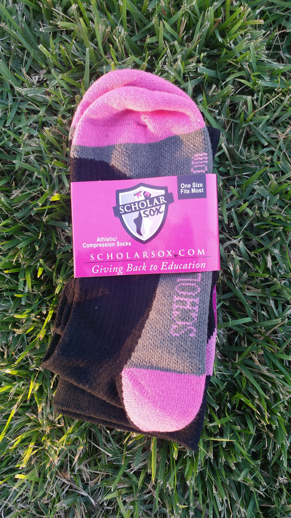 (LIMITED EDITION) Compression/Athletic Black knee-high socks with Pink (1 pair)