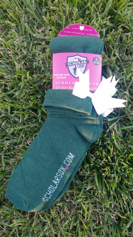 (LIMITED EDITION) Green knee-high socks with white bows (2 pairs)