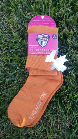 (LIMITED EDITION) Burnt Orange knee-high socks with white bows (2 pairs)