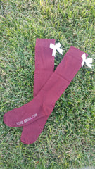 (LIMITED EDITION) Maroon knee-high socks with white bows (2 pairs)