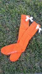 (LIMITED EDITION) Bright Orange knee-high socks with white bows (2 pairs)