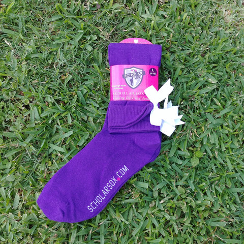 *NEW* (LIMITED EDITION) Purple knee-high socks with white bows (2 pairs)