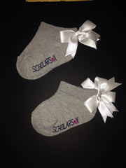 Grey ankle socks with white bows (2 pairs)