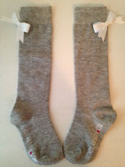 Grey knee-high socks with white bows (2 pairs)
