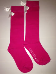 (LIMITED EDITION) Pink knee-high socks with white bows (2 pairs)