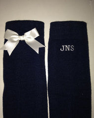 Navy knee-high socks with white bows (2 pairs)