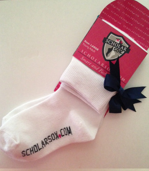 White knee-high socks with navy bows (2 pairs)