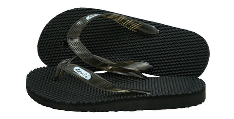 Locals Women's Arch Support Black Strap Massage Slippa