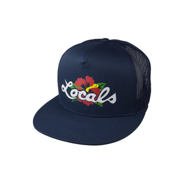 Locals Flower Logo Classic Trucker Hat - Navy