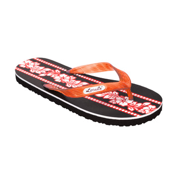Hibiscus Flower Print Women's Orange-Red Slippa