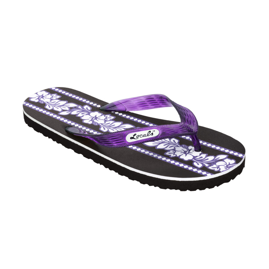 Hibiscus Flower Print Women's Purple Slippa