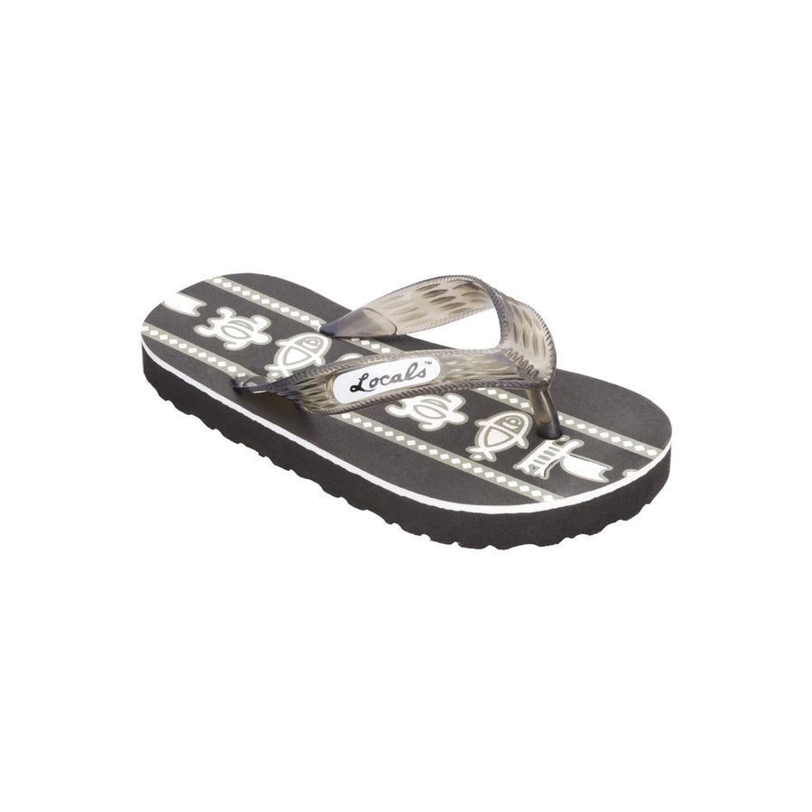 Kids Sea Print Black Slippa