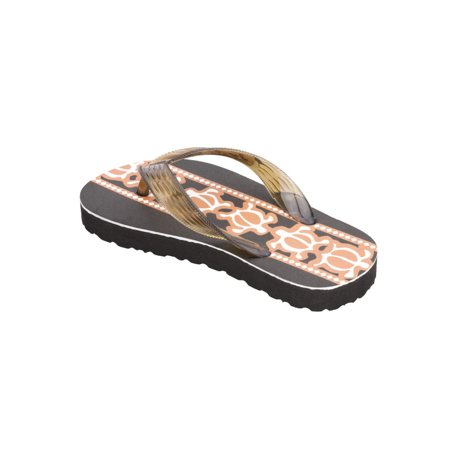 Kids Turtle Print Brown Slippa