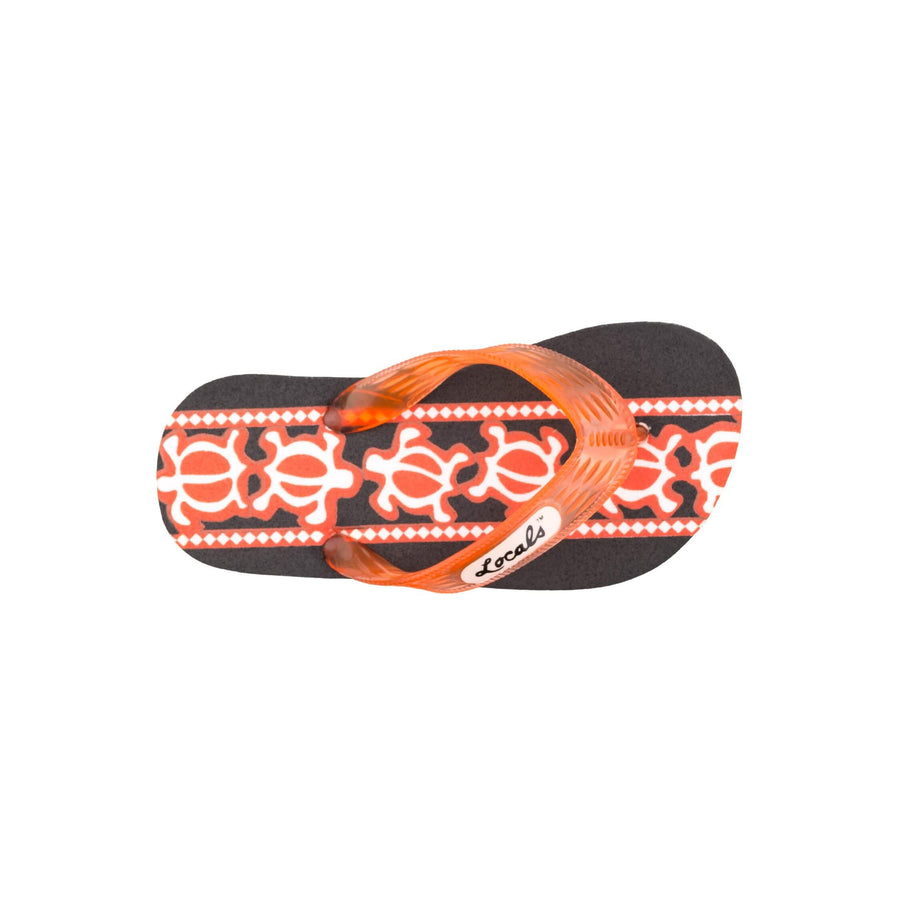 Kids Turtle Print Orange Slippa