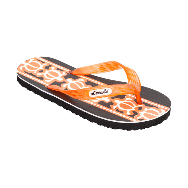 Locals Women's Turtle Print Orange Slippa