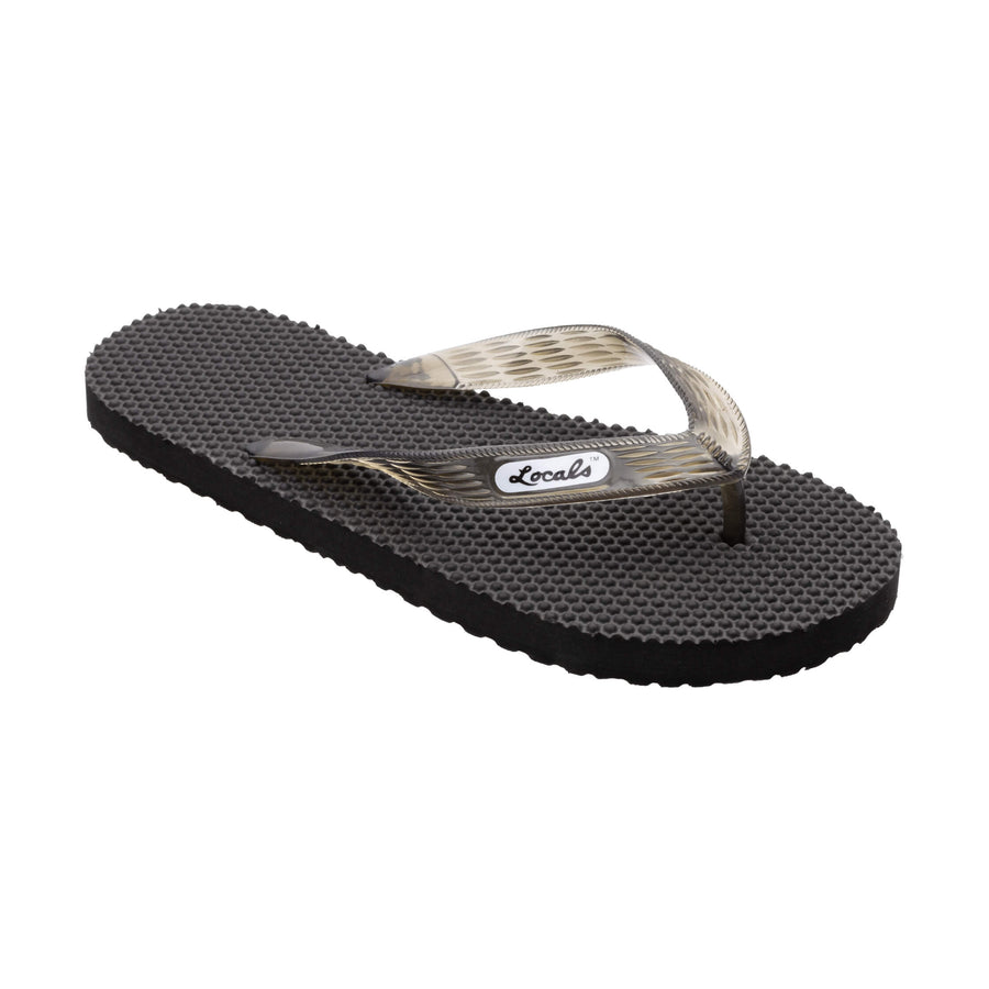 Massage Men's Translucent Black Strap Slippa
