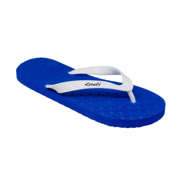 NEW! Blue Platform Men's Solid White Strap Slippah