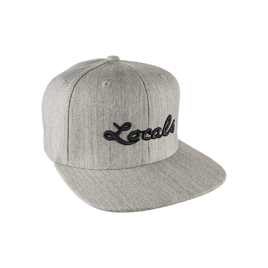Locals Script Logo Premium Snapback Hat - Heather Gray
