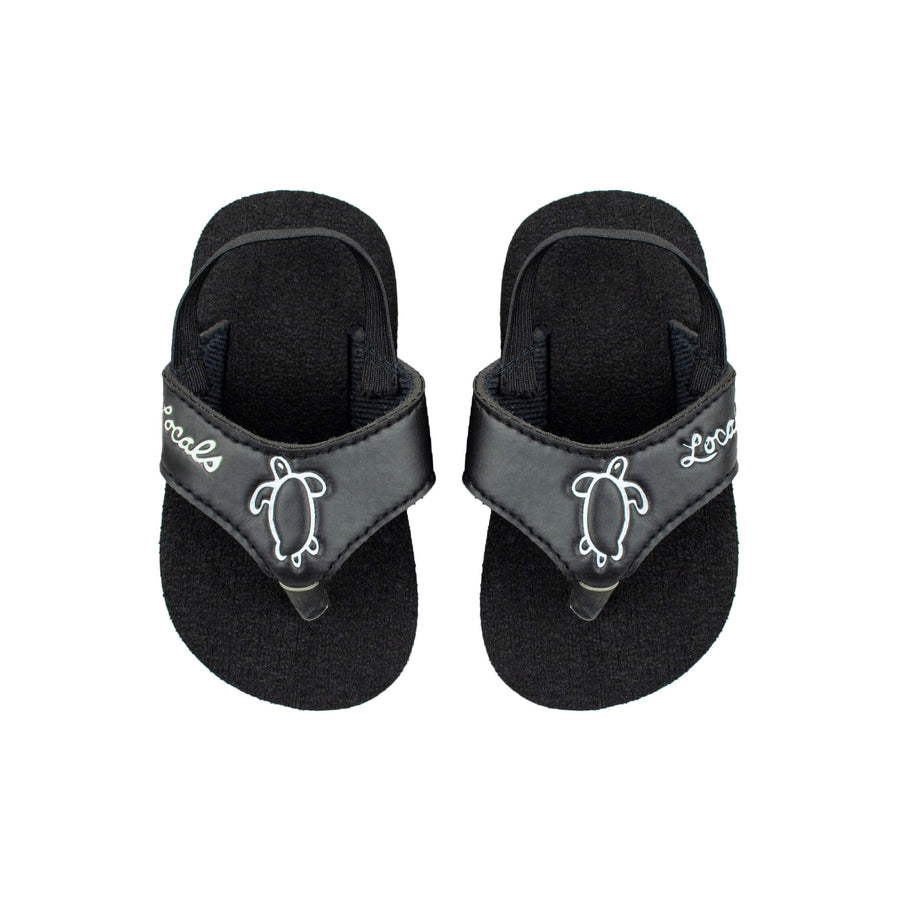 Kids Elastic Strap Black Slippas