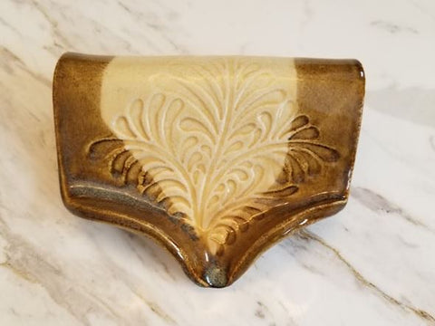Waterfall Soap Dish, Ceramic, Bone & Waterfall Brown