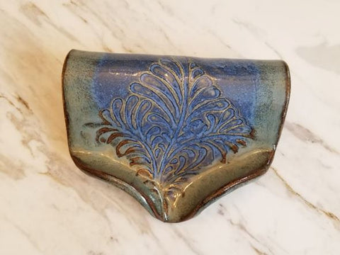 Waterfall Soap Dish, Ceramic, Lapis Blue