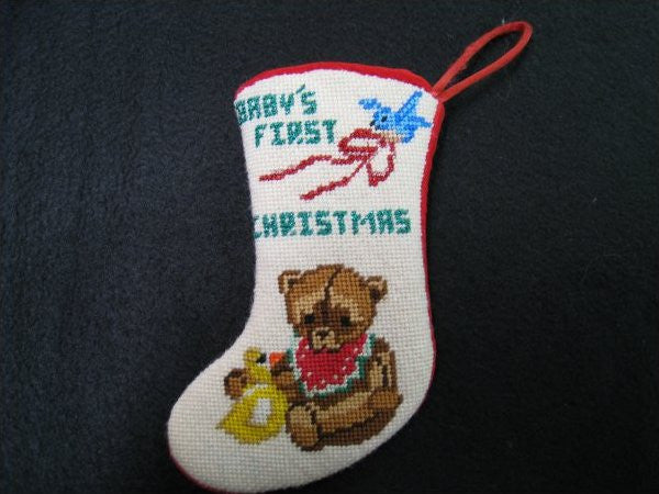 Baby's First Christmas Mini Stocking-QR60