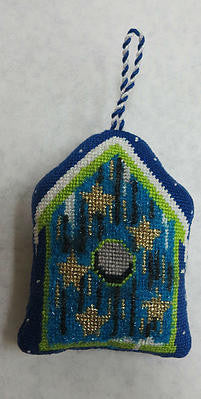 Blue Star Bird House Ornament