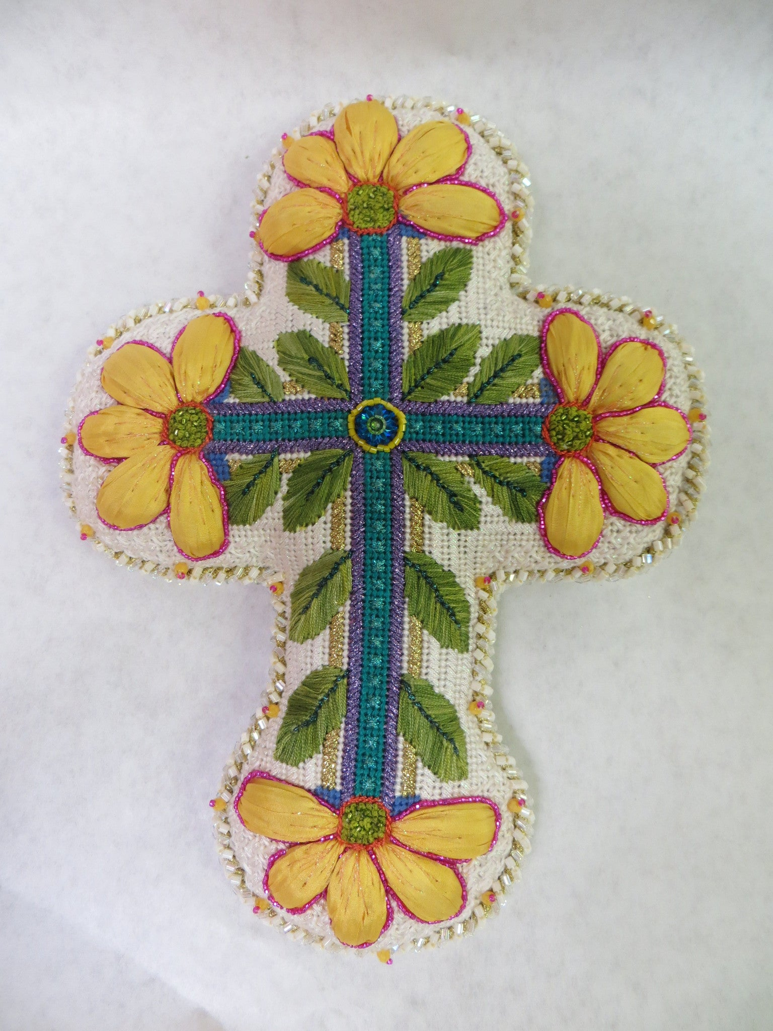Large Cross with A Yellow Flower at Each End
