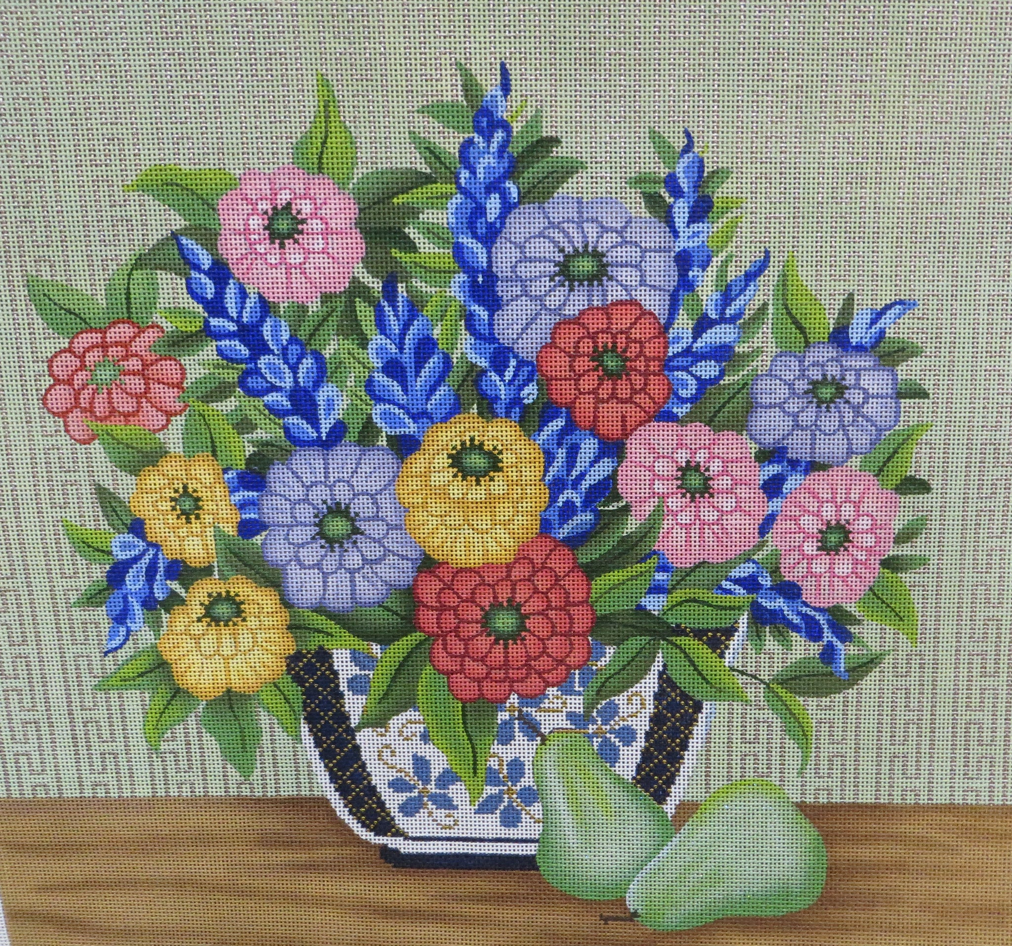 Flowers in blue and white vase