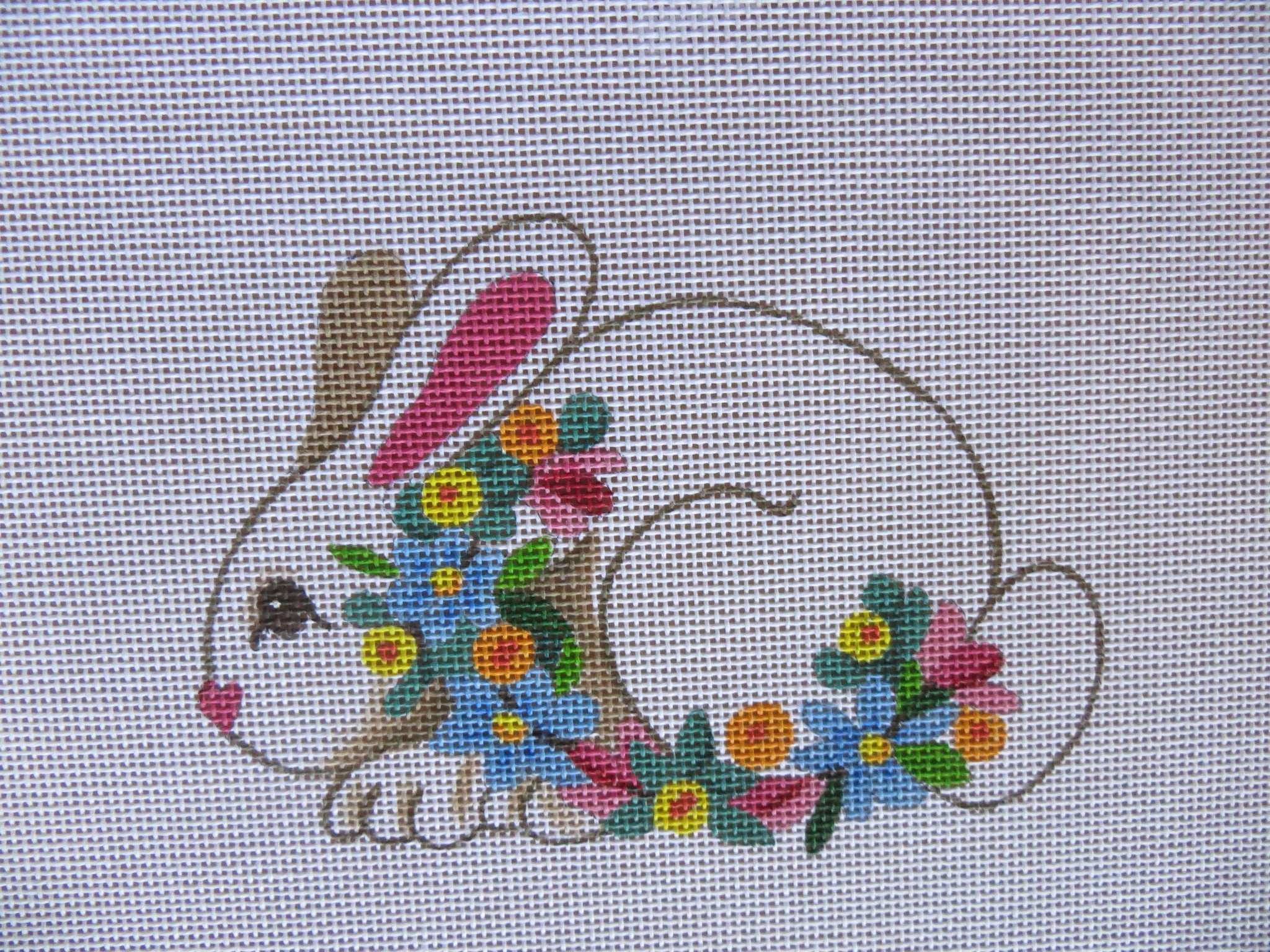 White Bunny with Flowers
