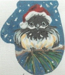 Chickadee in Santa hat