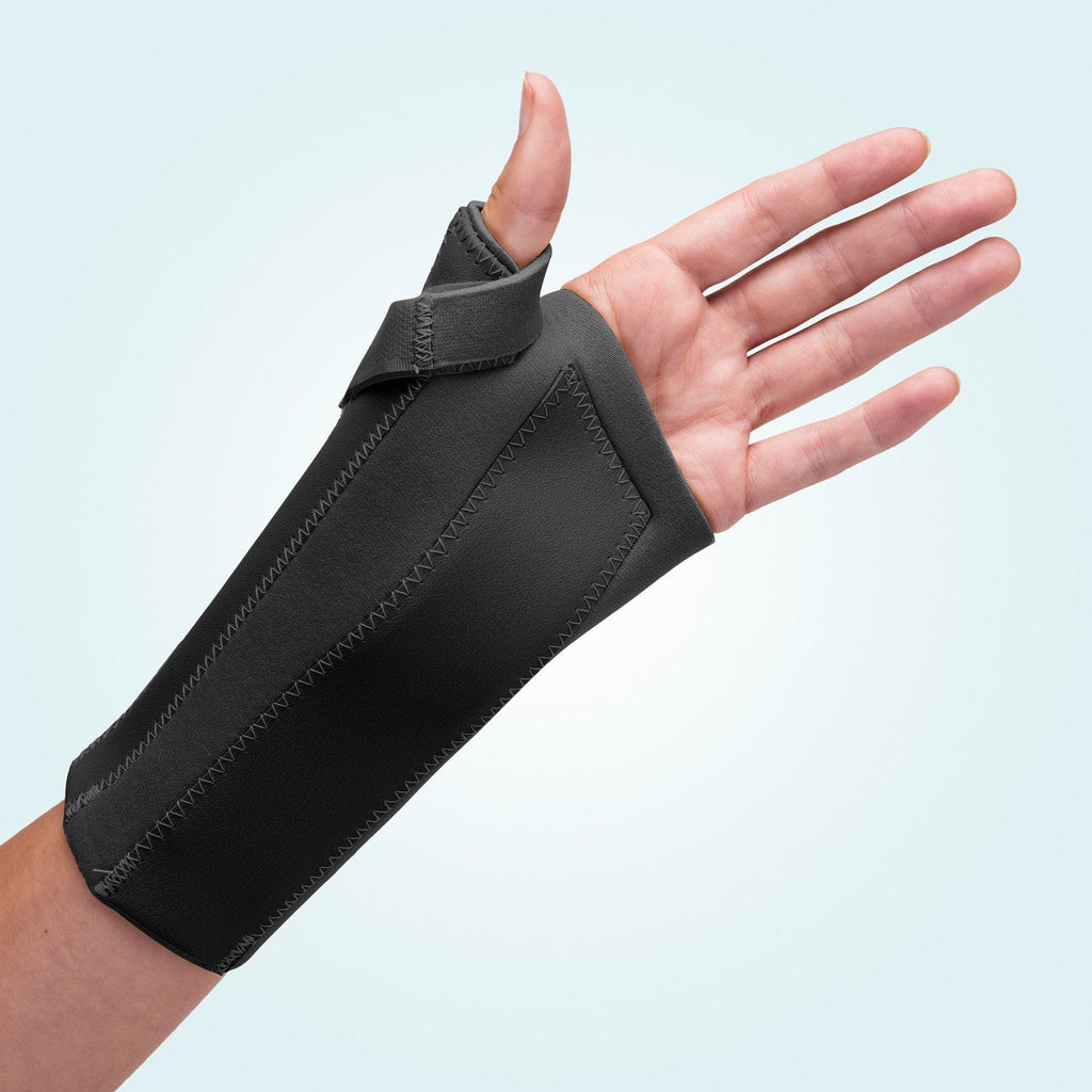 The Benecare Neoprene Open Wrist/Thumb Support is available in black and beige.