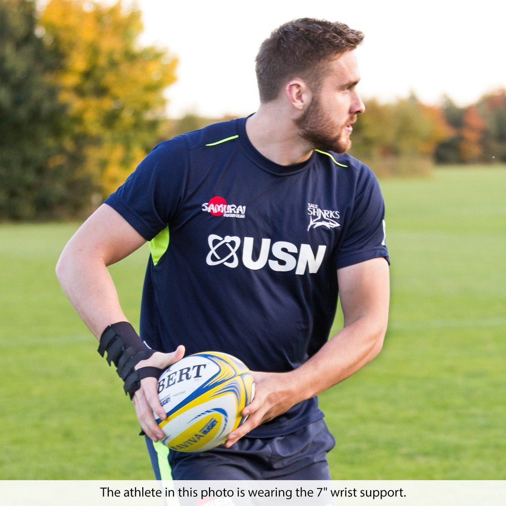 "George Nott of Sale Sharks Rugby Club, wearing the 7"" Neoprene Wrist Support."