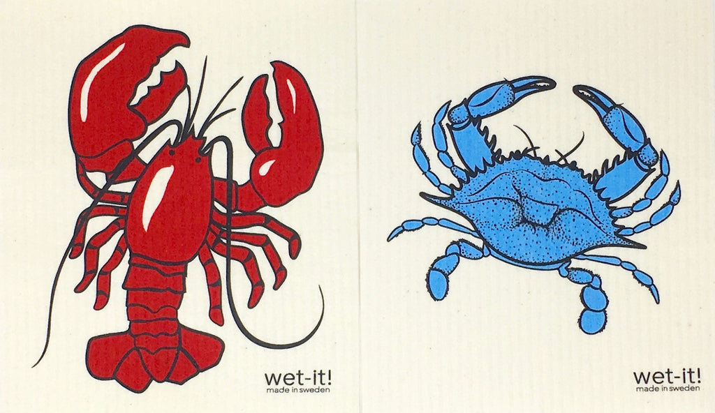 Swedish Treasures Wet-it! Dishcloth & Cleaning Cloth - 2 pack - Blue Crab & Lobster