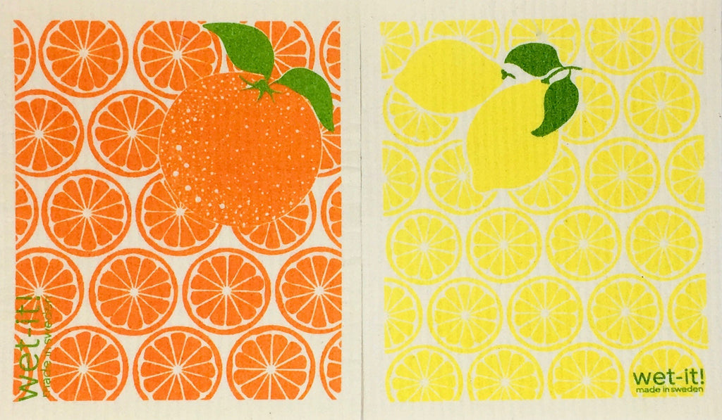 Swedish Treasures Wet-it! Dishcloth & Cleaning Cloth - 2 pack - Orange Slices & Lemon Slices
