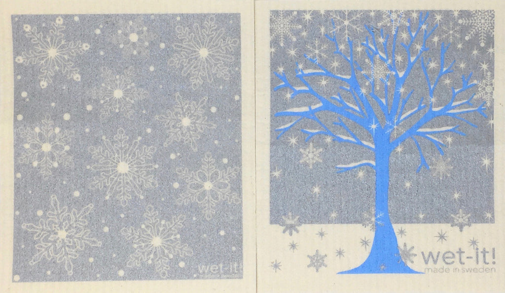 Swedish Treasures Wet-it! Dishcloth & Cleaning Cloth - 2 pack - Winter Snow Silver / Winter Tree Blue