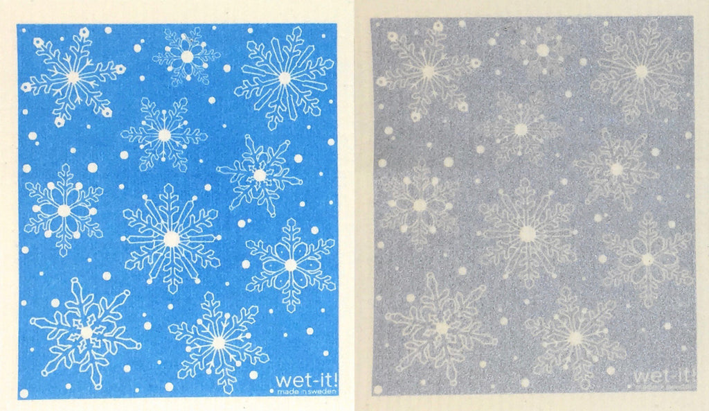 Swedish Treasures Wet-it! Dishcloth & Cleaning Cloth - 2 pack - Winter Snow Blue / Winter Snow Silver
