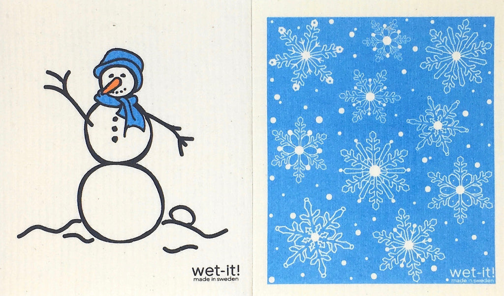 Swedish Treasures Wet-it! Dishcloth & Cleaning Cloth - 2 pack - Snowman Blue / Winter Snow Blue