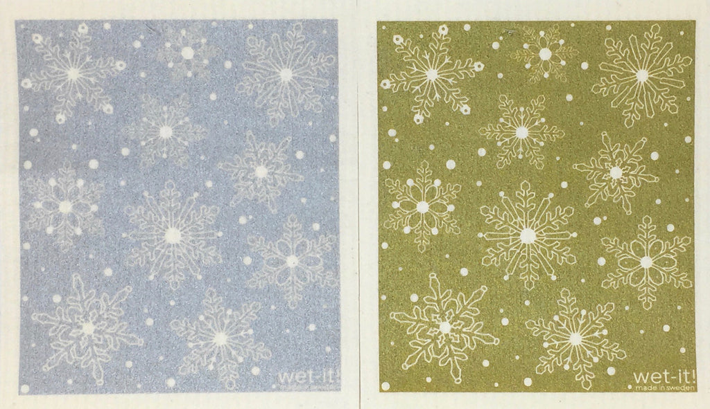 Swedish Treasures Wet-it! Dishcloth & Cleaning Cloth - 2 pack - Winter Snow Silver / Winter Snow Gold