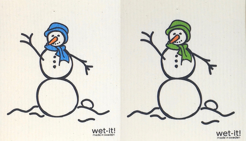 Swedish Treasures Wet-it! Dishcloth & Cleaning Cloth - 2 pack - Snowman Blue / Snowman Green
