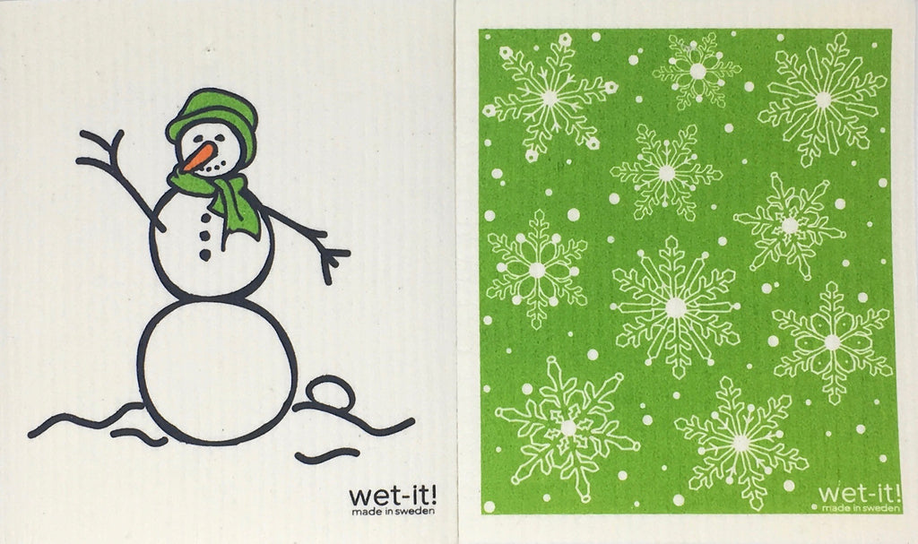 Swedish Treasures Wet-it! Dishcloth & Cleaning Cloth - 2 pack - Snowman Green / Winter Snow Green