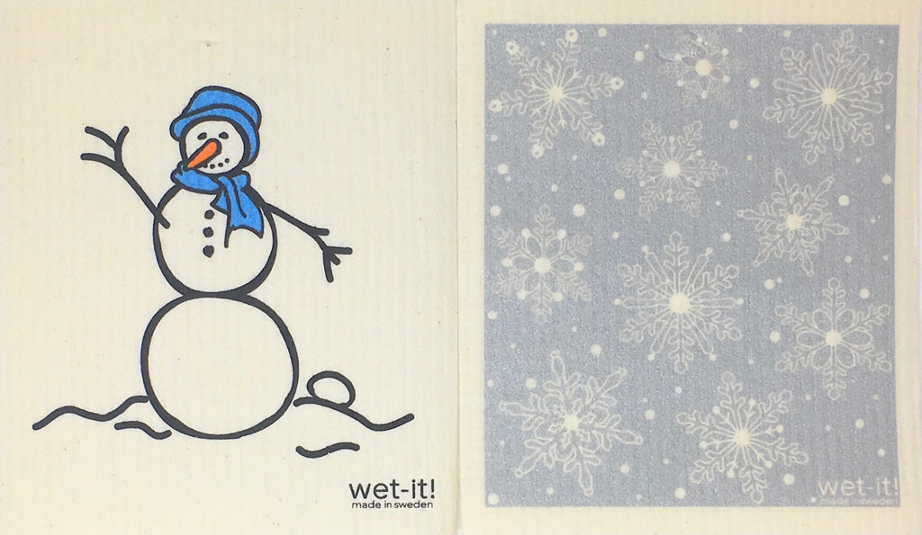 Swedish Treasures Wet-it! Dishcloth & Cleaning Cloth - 2 pack - Snowman Blue / Winter Snow Silver